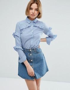 Рубашка в клеточку с оборками QED London - Синий