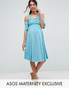 Короткое приталенное платье с открытыми плечами ASOS Maternity - Синий