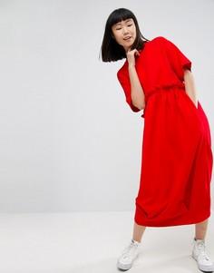 Трикотажное платье миди с оборкой ASOS WHITE - Красный