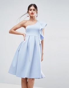 Платье миди на одно плечо с оборкой ASOS - Белый