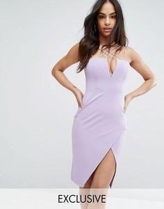 Платье-футляр с глубоким вырезом Rare London - Фиолетовый