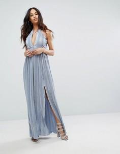 Платье макси с лямками и двумя разрезами Rare London - Синий