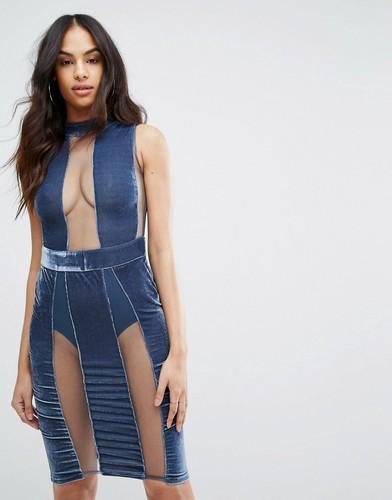 Облегающее платье с полупрозрачными вставками Rare London - Синий