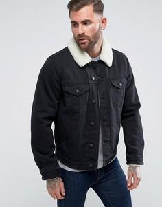 Черная джинсовая куртка с воротником-борг ASOS - Черный
