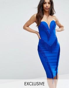 Платье-футляр с бахромой и вырезом сердечком Rare London - Синий