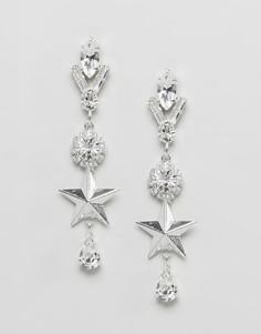 Серьги с отделкой кристаллом Swarovski от Krystal London - Серебряный