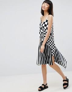 Платье-комбинация в полоску и клетку ASOS - Мульти