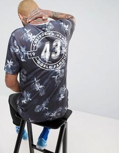 Длинная футболка с принтом ASOS - Темно-синий