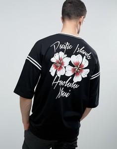 Oversize-футболка с принтом на спине и контрастным кантом ASOS - Черный