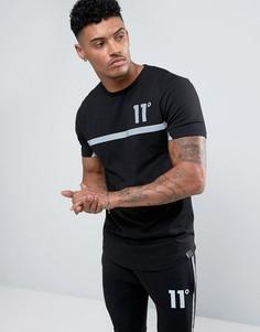Черная футболка со светоотражающей полосой 11 Degrees - Черный