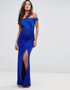 Платье макси с открытыми плечами и кружевной отделкой Lipsy - Синий