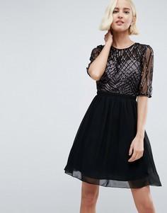 Платье для выпускного с отделкой пайетками Little Mistress - Черный
