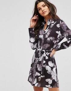 Платье-рубашка с цветочным принтом и поясом Unique 21 - Мульти