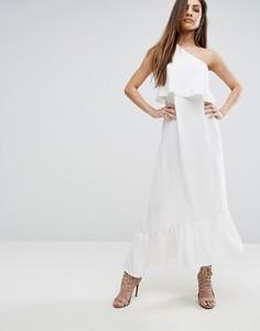 Платье миди на одно плечо с оборками PrettyLittleThing - Белый