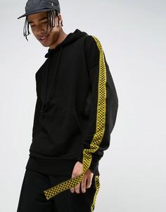 Oversize-худи черного цвета с лентой Granted - Черный