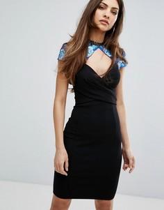Платье-футляр с вышивкой и короткими цельнокройными рукавами Lipsy - Черный