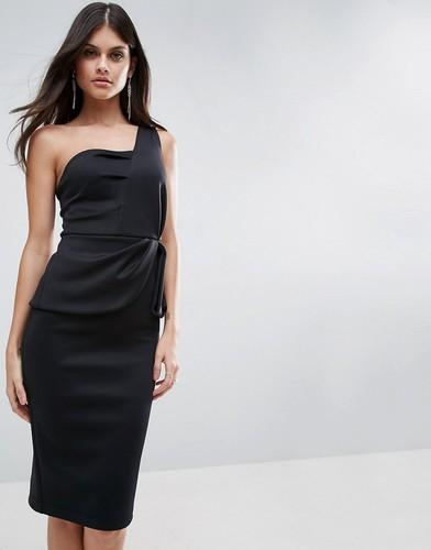 Платье миди на одно плечо с баской ASOS - Черный