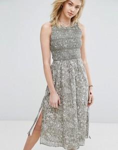Платье миди с высоким вырезом Abercrombie & Fitch - Мульти