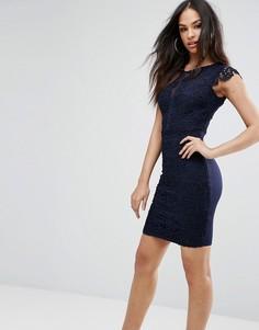 Платье-футляр с ажурным кружевом Michelle Keegan Loves Lipsy - Темно-синий