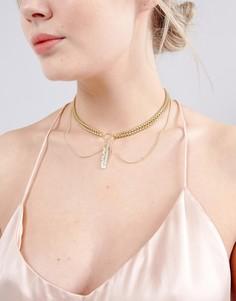 Ожерелье-чокер с перышком Johnny Loves Rosie - Золотой