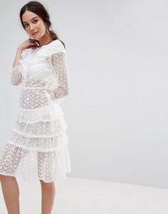 Ярусное платье миди с оборками Missguided - Белый