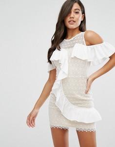 Кружевное платье мини с асимметричными оборками Dark Pink - Белый