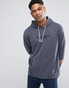 Oversize-худи сине-серого цвета без застежки с карманом Abercrombie & Fitch - Синий