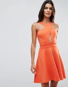 Короткое приталенное платье с запахом Oh My Love Scuba - Оранжевый