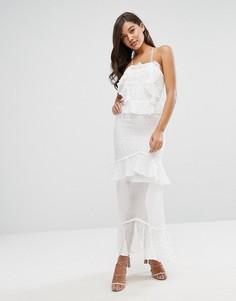 Платье макси с рюшами и шнуровкой на спине Dark Pink - Белый
