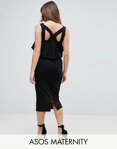 Платье миди с квадратным вырезом и оборками ASOS Matenrity - Черный