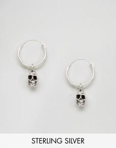 Серьги-кольца с черепом Kingsley Ryan - Серебряный