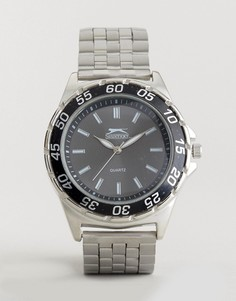 Серебристые часы с черным корпусом Slazenger - Серебряный