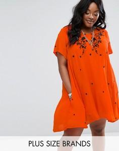 Свободное платье с вышивкой Alice & You - Оранжевый