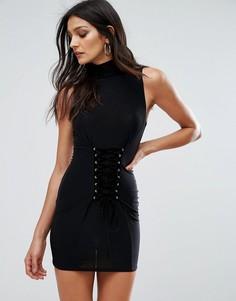 Платье мини без рукавов со шнуровкой в стиле корсета Club L - Черный