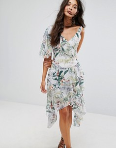 Асимметричное платье миди с тропическим принтом Miss Selfridge - Мульти