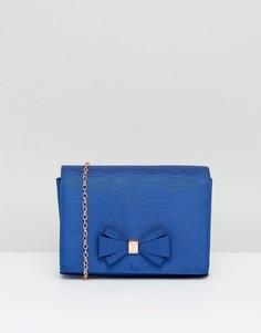 Атласная вечерняя сумка с бантиком Ted Baker Kiana - Синий