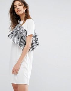 Платье-футболка с оборкой в клетку Daisy Street - Белый