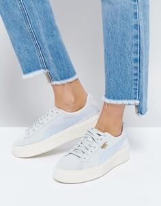 Синие замшевые кроссовки на платформе Puma - Синий