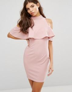 Платье мини с высоким воротом и открытыми плечами AX Paris - Розовый
