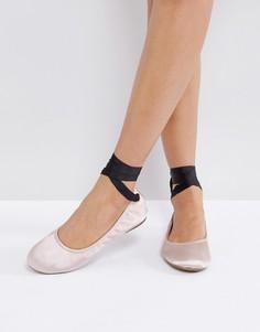Атласные туфли с завязками New Look - Розовый