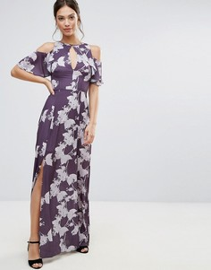 Платье макси с цветочным принтом Hope & Ivy - Фиолетовый