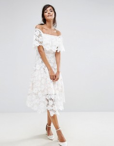 Пышное кружевное платье миди Coast Patience - Мульти