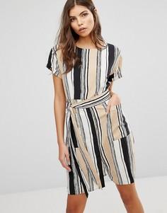 Платье в полоску с поясом Ax Paris - Бежевый