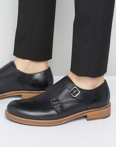 Черные кожаные монки Ben Sherman Parc - Черный