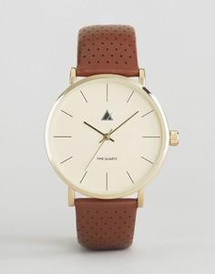Часы с кожаным перфорированным ремешком ASOS - Коричневый