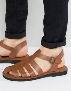 Светло-коричневые кожаные сандалии с ремешками KG By Kurt Geiger - Рыжий