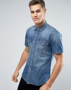 Джинсовая рубашка с карманами и короткими рукавами Replay - Синий
