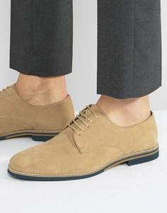 Бежевые замшевые туфли на шнуровке с контрастной подошвой ASOS - Светло-серый