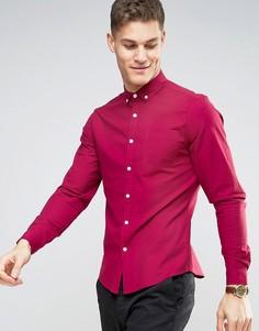 Темно-розовая эластичная оксфордская рубашка узкого кроя в стиле casual от ASOS - Красный