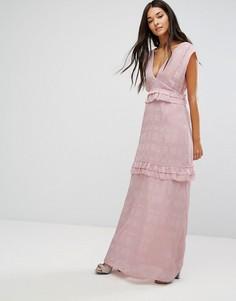 Платье макси с оборками Lost Ink - Розовый